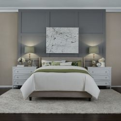 Bedroom with gray walls and tan shades closed Automated Lights and Shades Manhattan