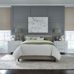 Bedroom with gray walls and tan shades lowered Automated Lights and Shades Manhattan