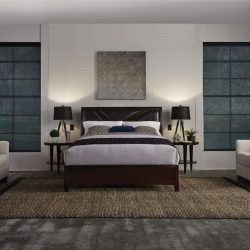 Wood-floor bedroom with black shades closed Automated Lights and Shades Manhattan