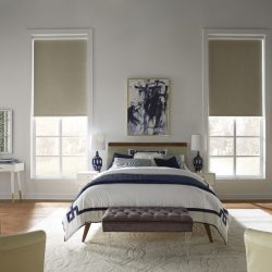 White bedroom with tan shades lowered Automated Lights and Shades Manhattan
