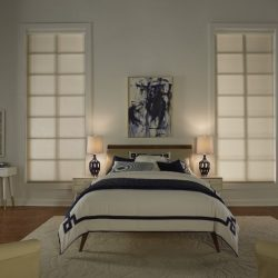 White bedroom with tan shades closed Automated Lights and Shades Manhattan