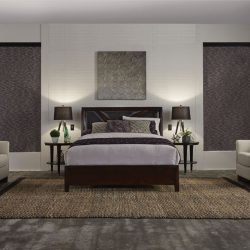 Modern bedroom with gray shades closed Automated Lights and Shades Manhattan