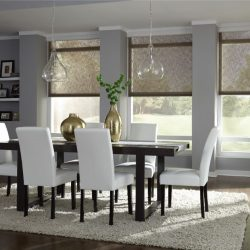 Light dining room with tan shades lowered Automated Lights and Shades Manhattan