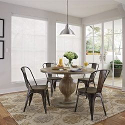 Round dining room table with shades closed Automated Lights and Shades Manhattan