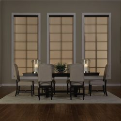 Modern dining room with tan shades closed Automated Lights and Shades Manhattan