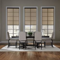 Modern dining room with tan shades lowered Automated Lights and Shades Manhattan