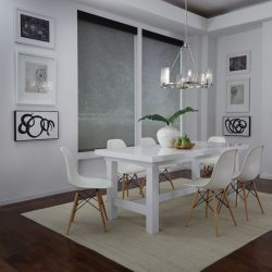 White dining room with dark shades closed Automated Lights and Shades Manhattan