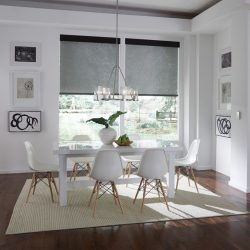 Dining room with sheer shades lowered Automated Lights and Shades Manhattan