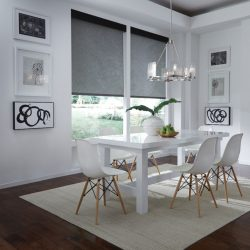 White dining room with dark shades lowered Automated Lights and Shades Manhattan