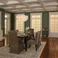 Dining room with hanging lights and shades closed Automated Lights and Shades Manhattan