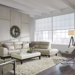 Couch, two chairs, mirror, and white shades lowered Automated Lights and Shades Manhattan
