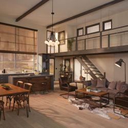 Wooden home interior with tan shades lowered Automated Lights and Shades Manhattan