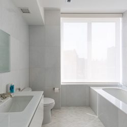 Modern bathroom with shades pulled down Automated Lights and Shades Manhattan