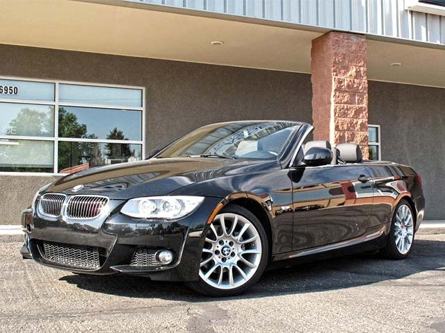 Black BMW Convertible With Top Down