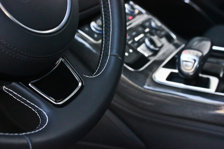 Closeup of Leather Steering Wheel