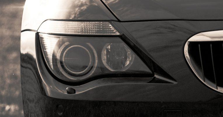 BMW Headlights on Black Vehicle
