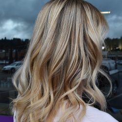 Blond hair with deep caramel tones - Avenue Hair Salon