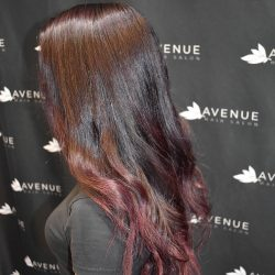 Woman with new dimensional hair color - Avenue Hair Salon