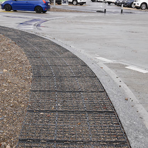 Road Shoulder Featuring Ground Stabilization Matting - B8 Ventures