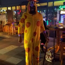 Image of a large giraffe at Backstage Billiards