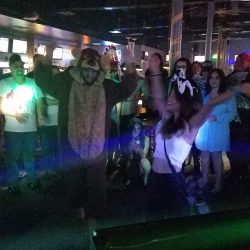 Image of chipmunk man in the center of the dance circle