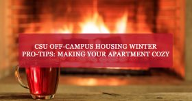"""CSU off-campus housing winter pro-tips: Making your apartment cozy."" Banner."