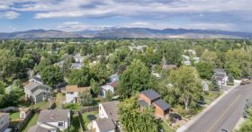 A overhead view of the suburbs in Fort Collins.