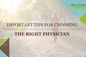 "A woman in a red sweat shirt walks down a path, the words ""important tips for choosing the right physician"" are overlaid on the photo"