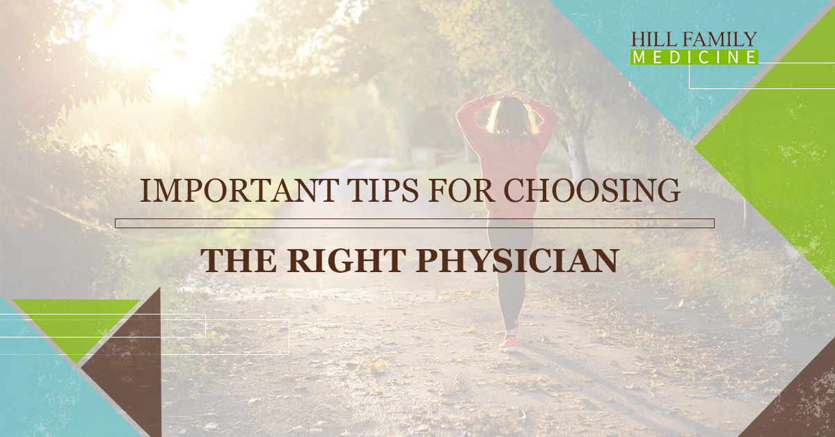 """A woman in a red sweat shirt walks down a path, the words """"important tips for choosing the right physician"""" are overlaid on the photo"""