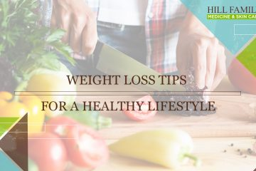 """A person slices veggies on a cutting board with the words """"Weight loss tips for a healthy lifestyle."""""""