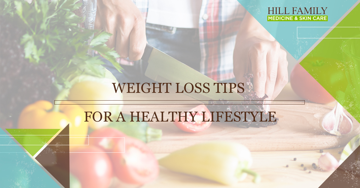 "A person slices veggies on a cutting board with the words ""Weight loss tips for a healthy lifestyle."""