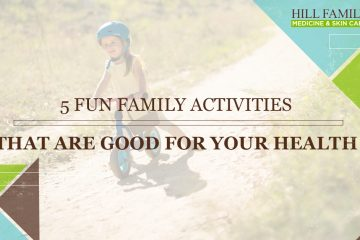 "A young girl rides a strider bike with the words ""5 Fun Family Activities That are Good For Your Health,"" over the top."