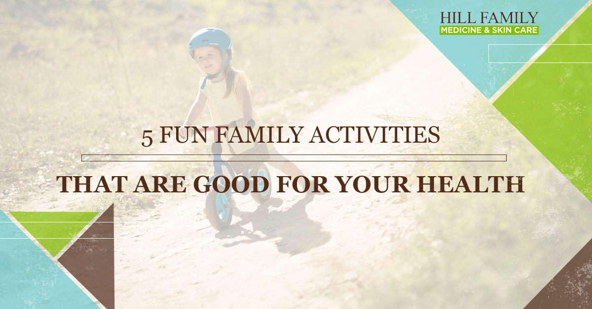 """A young girl rides a strider bike with the words """"5 Fun Family Activities That are Good For Your Health,"""" over the top."""