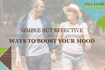 "A man and woman walk down a forest path with the words ""Simple but effective ways to boost your mood."""