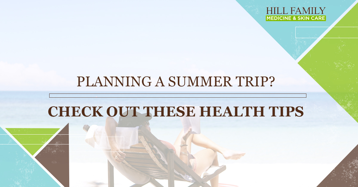 "A woman relaxes on the beach with the words ""Planning a summer trip? Check out these health tips"""