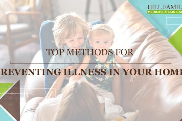 """A pair of children rest on top of their mother on the couch with the words """"Top methods for preventing illness in your home."""""""