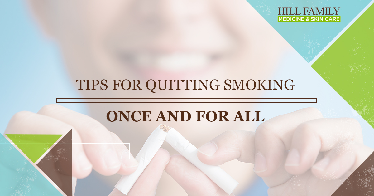 """A woman breaks a cigarette in half with the words """"Tips for quitting smoking once and for all."""""""