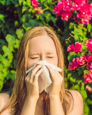 A woman surrounded by flowers sneezes into a tissue.