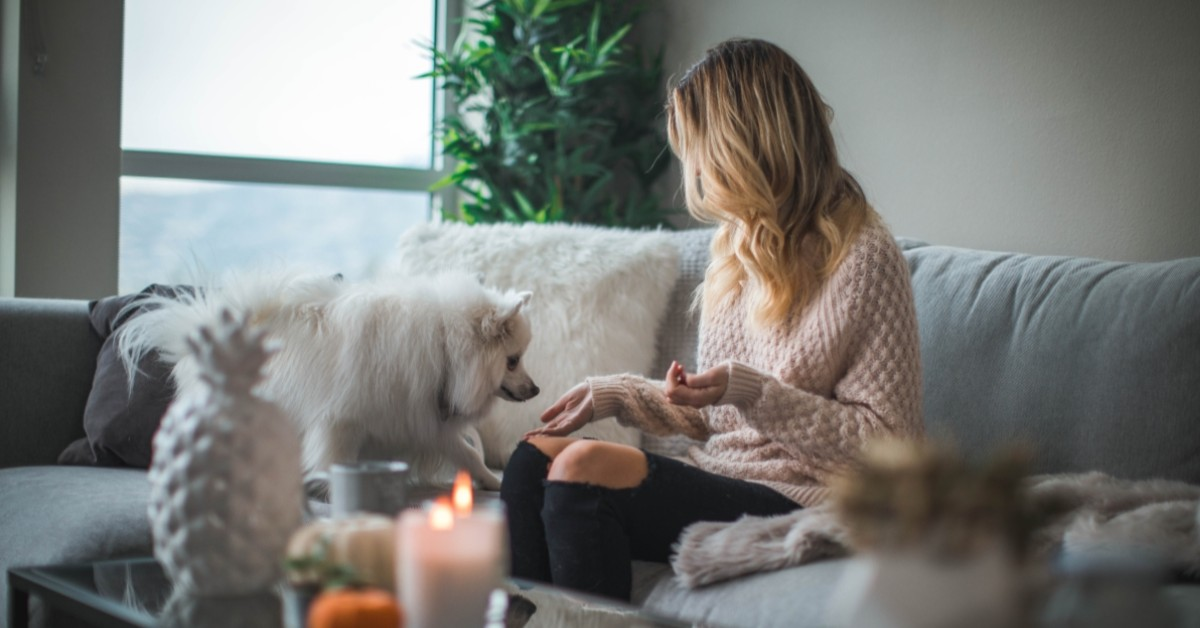 Woman on couch with fluffy white dog.