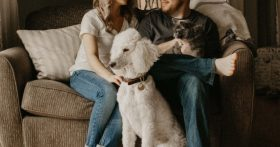Image of a couple sitting on a couch with pets on their laps.