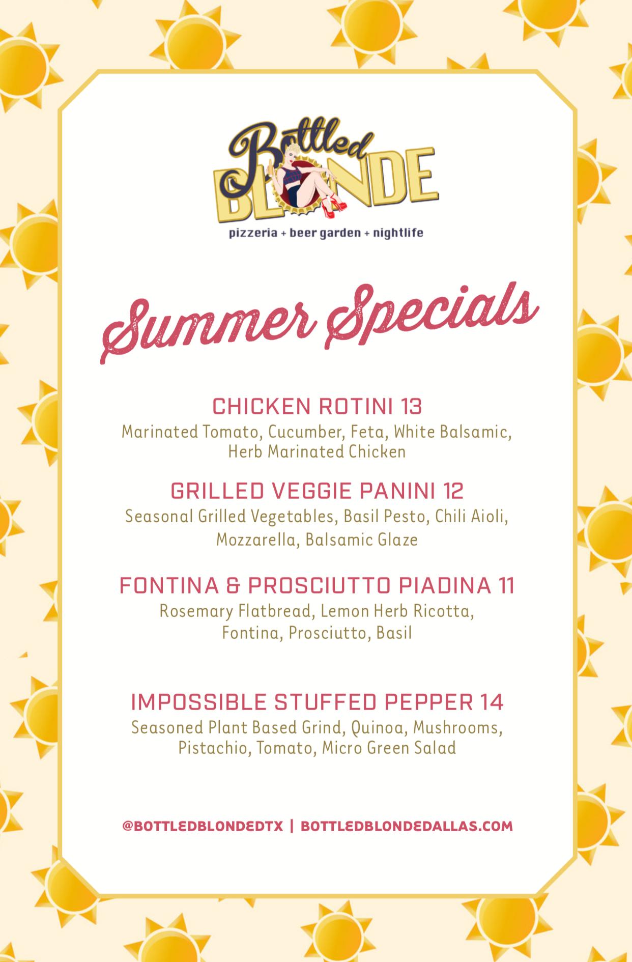 Bottled Blonde Menus & Specials | Best Italian Food