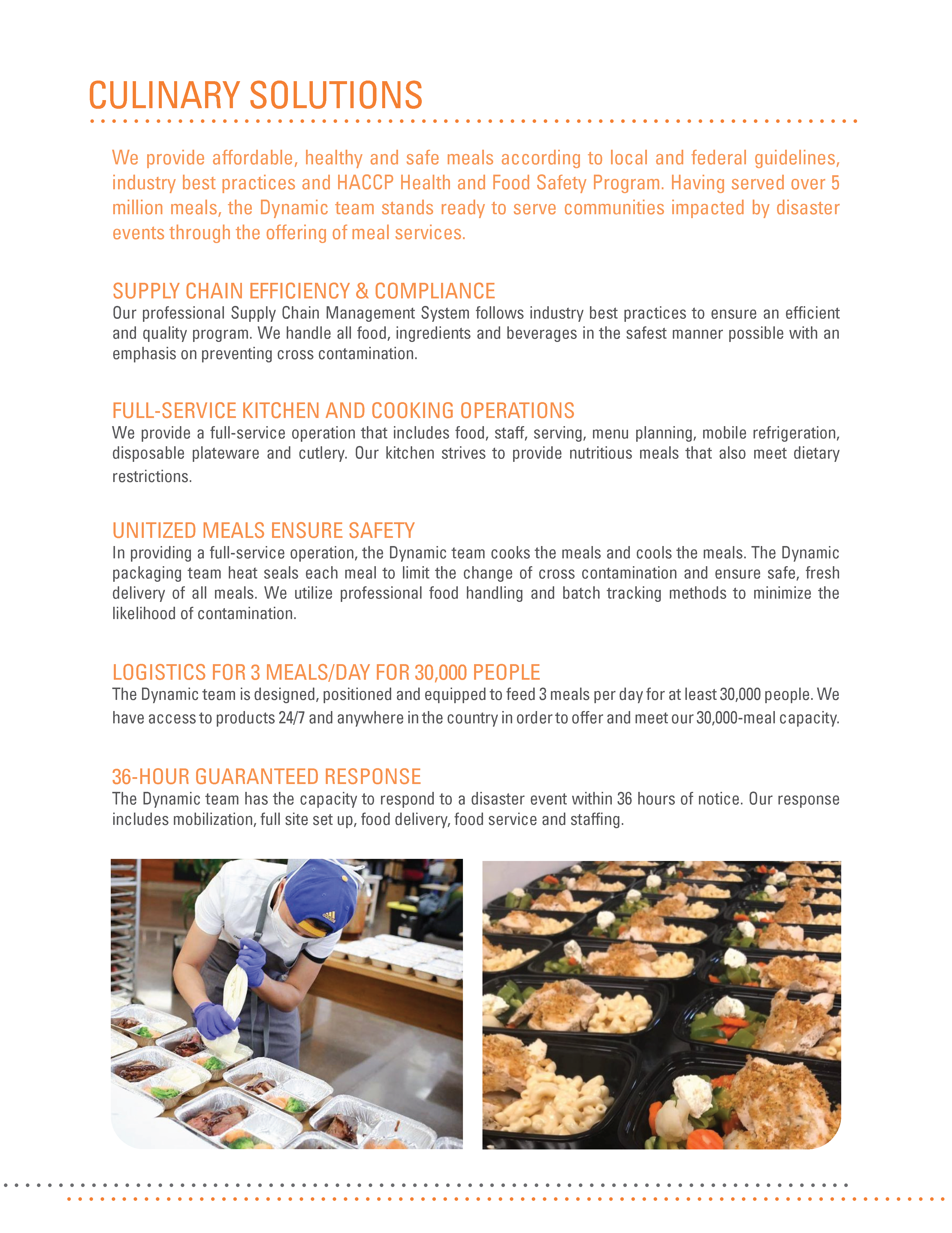 Dynamic Restoration Services can provide emergency meals and other culinary solutions