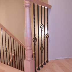 Custom wooden banister by Bailey Custom Woodworking in Springfield, IL.