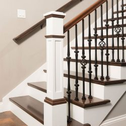 Modern wood staircase and stair railing by Bailey Custom Woodworking.