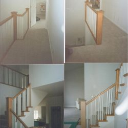 Modern wood stairs and banister by Bailey Custom Woodworking.
