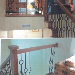 Unique wood banister and stairway design by Bailey Custom Woodworking.