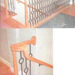 Modern curled wood banister by Bailey Custom Woodworking.