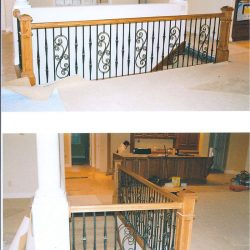 Custom wood handrail and newel posts by Bailey Custom Woodworking.