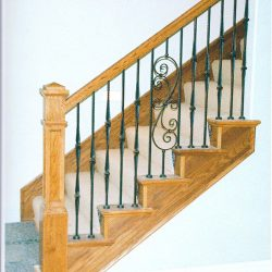 Wood handrail by Bailey Custom Woodworking in Springfield, IL.