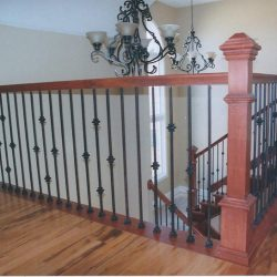 Custom wood banister by Bailey Custom Woodworking in Springfield, IL.